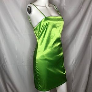 Sorella Lime Green Satin Mini Dress